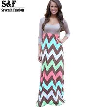 Hot 2016 High Quality Brand Women Summer Dress Striped Print Long Dress Beach Boho Maxi Dress Feminine Plus Size Wholesale(China (Mainland))