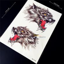 1PC 3D Flash Water Transfer Temporary Tattoo Stickers Evil Wolf Beast Design, Men Fake Body Art Arm Sleeve Chest Shoulder Tattoo