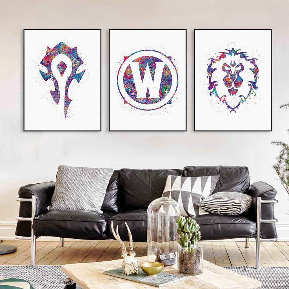 Original Watercolor WOW Alliance Horde Logo Game Movie A4 Art Print Poster Wall Picture Canvas Painting No Frame Boy Room Decor(China (Mainland))