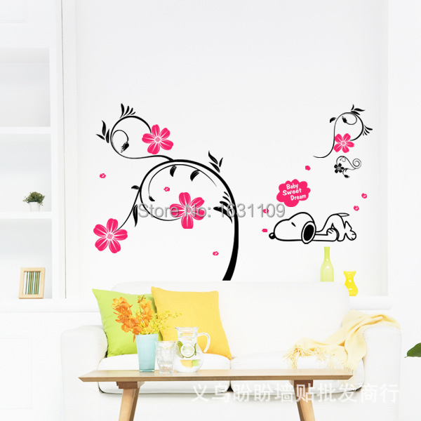 Free shipping Home decor dog flower tree baby sweet dream bedroom/parlour Background wall sticker DM57-0054(China (Mainland))