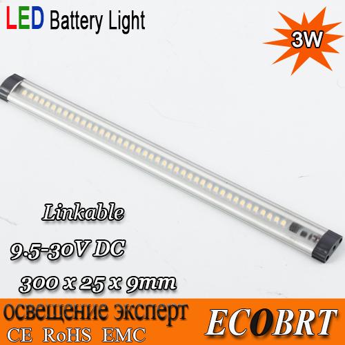 2015 12V 3W 30cm Long Surface Mounting aluminum LED Caravan Boat Bar Light Under Cabinet 9.5-30V 2pcs/lot(China (Mainland))