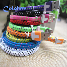 Durable Flat Braided Nylon Micro USB Charger Wire Data Sync Cable Cord for Samsung Galaxy S4 S6 Note 2 4 5 HTC LG Android Phone(China (Mainland))