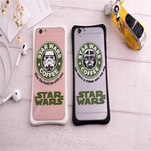 New arrive soft silicone TPU star wars 7 Coffee pattern Love hole Back cover Shell for iphone6/6s&6s plus 5.5inch phone cases
