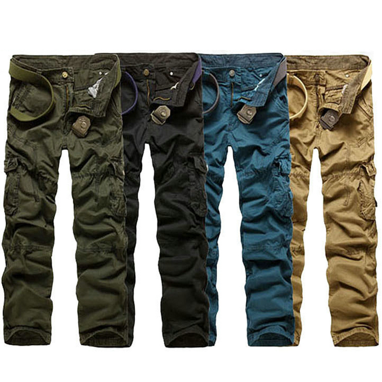 NWT Men's Casual Punk Cargo Military Style Army Multi Pocket 100% Pants Trousers 2013 New Fashion