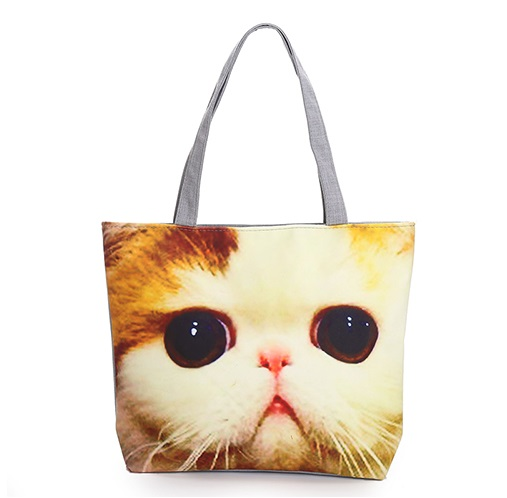 New Arrival Women Canvas Bag Female Single Shoulder Shopping Bags Lovely Cats Printed Canvas Tote Daily Use Fashion Beach Bag(China (Mainland))