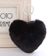 Pompom bonito Fluffy Plush Keychain da Forma Do Coração Do Falso Pele De Coelho Bolsa Pingente Chaveiro Carro Das Mulheres Fivela Moda Jóias(China)