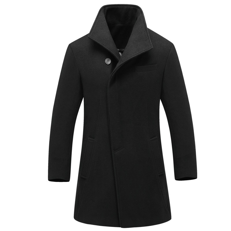 Brand Mens Wool Blends Overcoat Design Quality Coat Male Regular Solid Collar Slim Long Men Casual Jacket Outdoor M 4XL(China (Mainland))