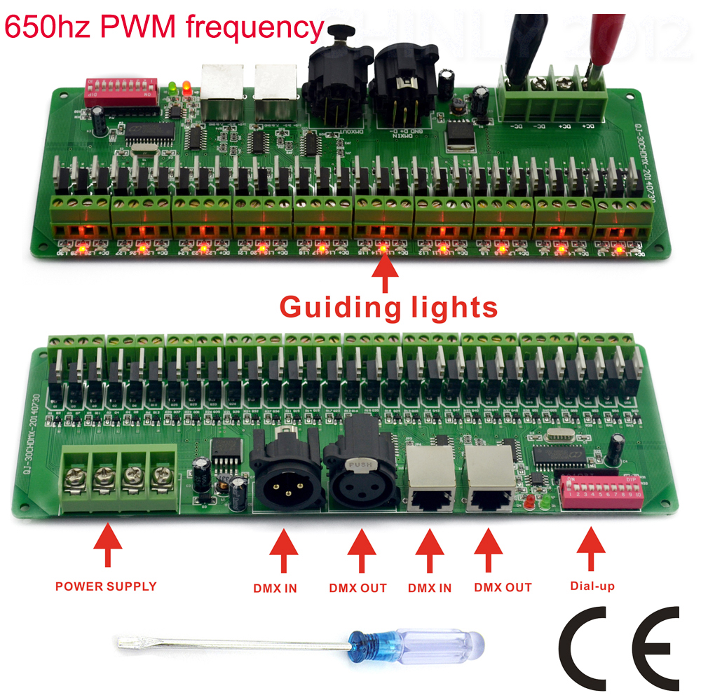 30 channel DMX 512 rgb LED strip controller dmx decoder dimmer driver DC9V-24V(China (Mainland))