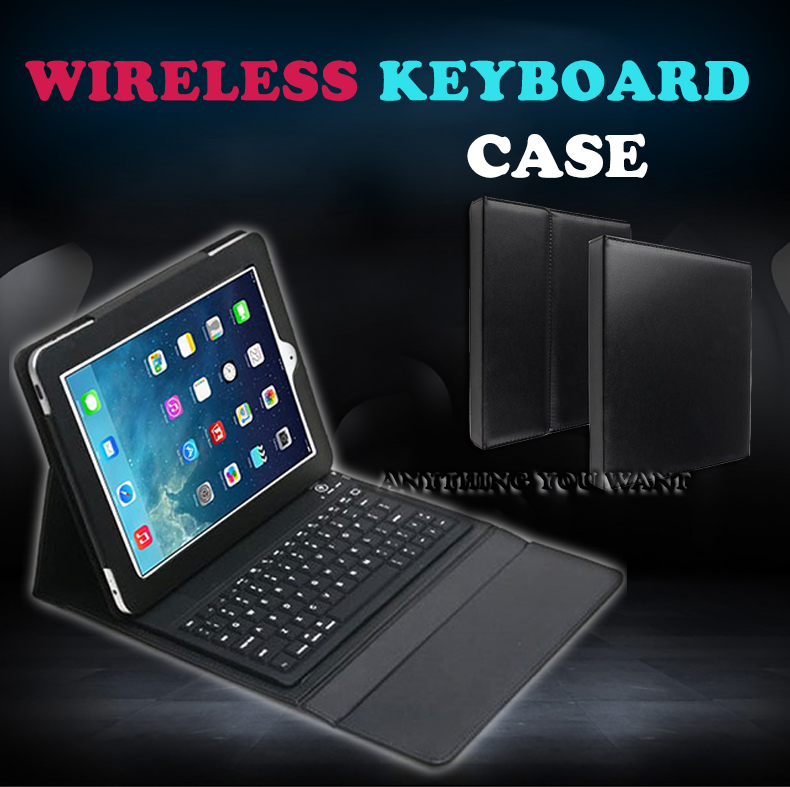 Fashion NEW Bluetooth Wireless Silicone Key board Leather stand Case For ipd Air 2 Retina Tablet PC Stand Drop shipping(China (Mainland))