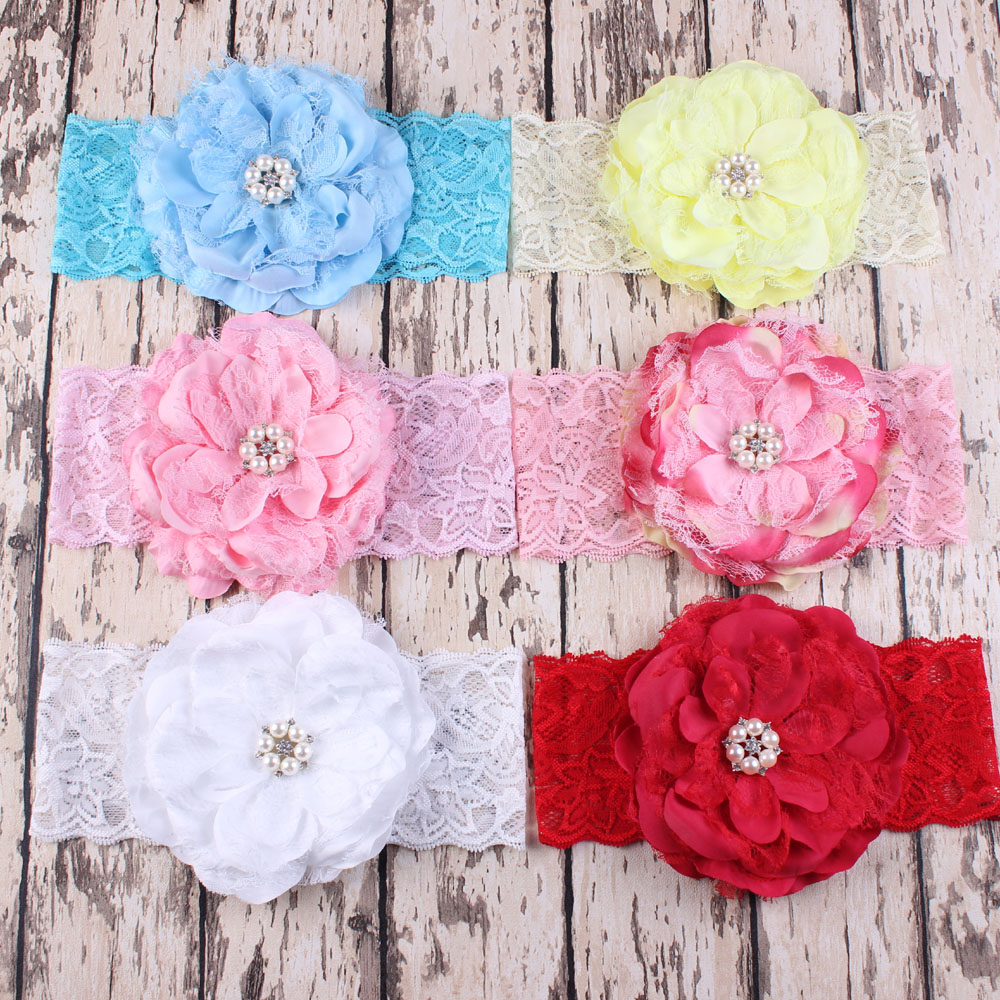 Wholesale WIDE lace Headband with flower rhinestone headband for girl hair Accessories Stretchy Elastic Lace Headwrap 240 pcs(China (Mainland))
