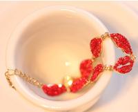 New Brand Bracelets Sex red rhinestone mouth Kiss women crystal Bangles & Bracelets Free shipping !