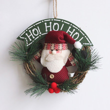 Christmas Decorations For Home Supplies Wreath Decoration Rattan Ring 20cm Santa Claus Snowman Christmas Ornaments Hanging 120g