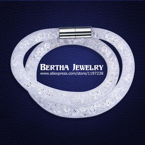 Hot sale Mesh Double Stardust Bracelets With Swarovski Elements Crystal stones Filled Magnetic Clasp Charm Bracelet Bangle 2015(China (Mainland))