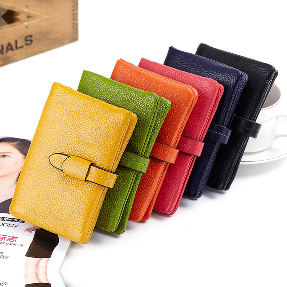 100% Genuine leather Fashion short paragraph women wallet cute drawstring leather Korean wholesale two fold wallet 6 colors(China (Mainland))