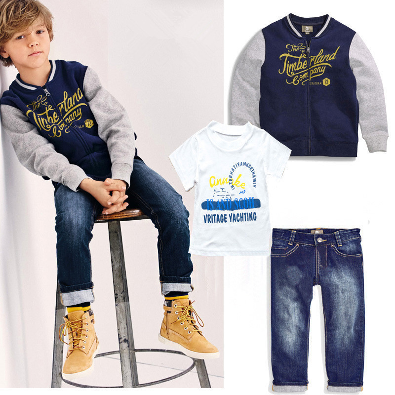 3pcs/set Children boys clothing set Spring Autumn baby suit Kids Casual Sport Baseball Jacket Coat +shirts+denim trousers/jeans(China (Mainland))