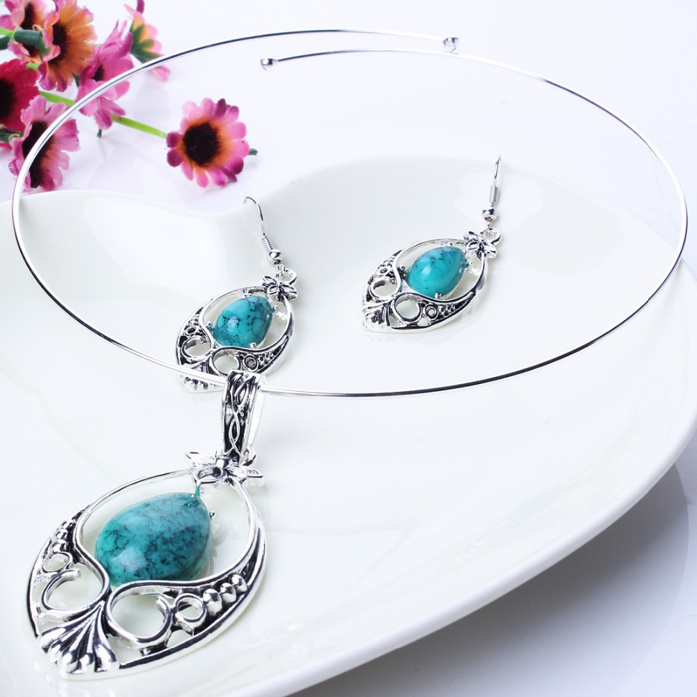 New fashion turquoise 925 sterling silver necklace for Turquoise colored fashion jewelry