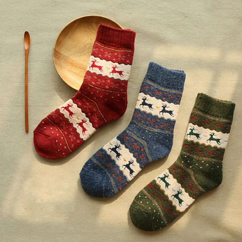 New 1 Pair Christmas Snowflake Deer Design Womens Wool Socks Warm Winter Cute New L033512