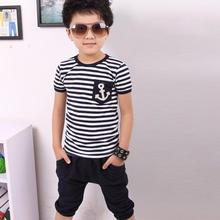 New fashion kids Summer Children Short Sleeve Clothing Boy Navy Striped Cotton T-shirt + Pants Suits sets for 2-7Y Free shipping(China (Mainland))