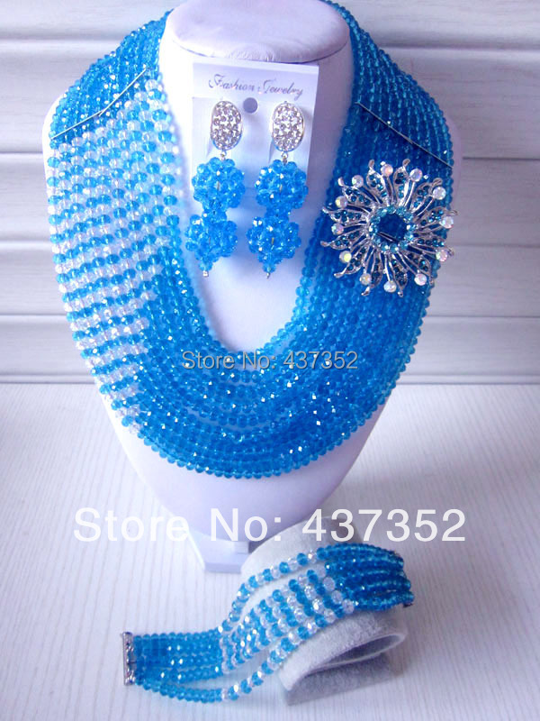 Fashion Nigerian Wedding African Beads Jewelry set Turquoise Blue Crystal Necklace Bracelet Earrings Jewelry Set CPS-303<br><br>Aliexpress