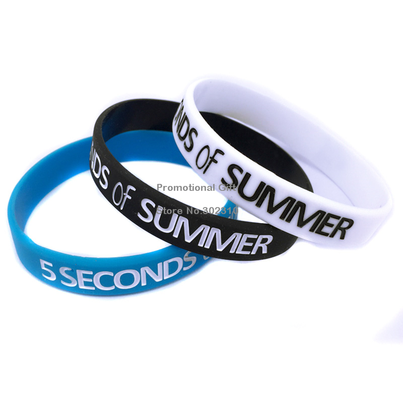 100PCS/Lot 5 Seconds Of Summer Debossed Silicone Wristband(China (Mainland))