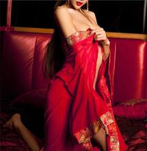Red Sexy Chinese Women Silk Rayon Nightgown Bathrobe Wedding Bridesmaid Robe Sleepwear V-Neck Kimono Gown Plus Size XL ZF043(China (Mainland))