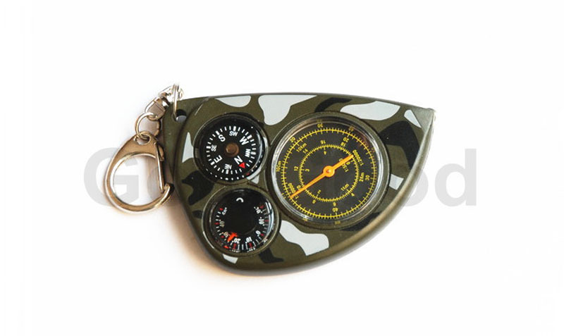 LX 2M Mini Odometer Thermometer Compass Great For Hiking Camping Cycling Hunting Survival Keychain Distance Measuring
