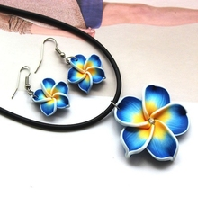 Hot Sale Stylish Blue Hawaii Flowers Crystal Polymer Clay Earrings Pendant Necklace Set(China (Mainland))
