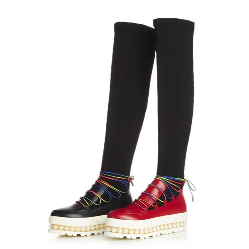 The First Layer of Leather Beading Boots Womens 2017 Winter Spring Pine Pastry Knee High Knot Elastic Fabric Women's Shoes W206(China (Mainland))