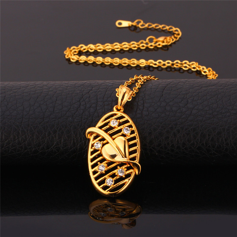 Heart Pendants Necklaces 18K Real Gold New Jewelry Free Shipping Austrian Rhinestone Necklace Pendant For Women P998(China (Mainland))