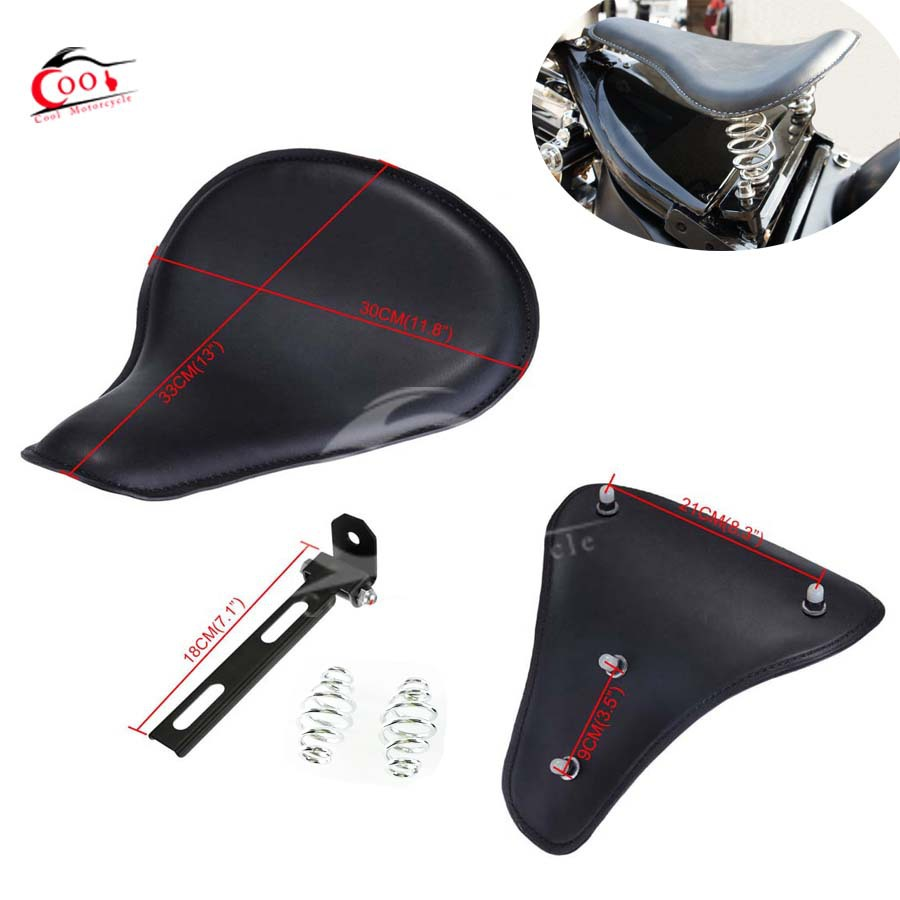 Motorcycle seat Black Leather Bracket Springs Solo Seat ...