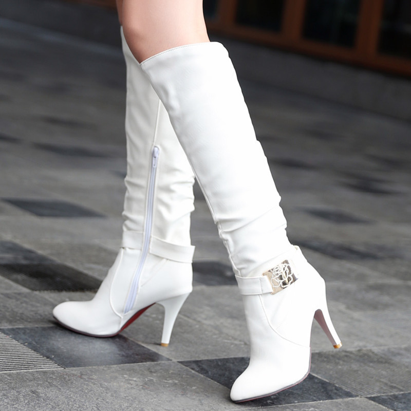 32-43 big size fashion women knee high boots fur inside pointed toe buckle high heels boots for ladies keep warm shoes <br><br>Aliexpress