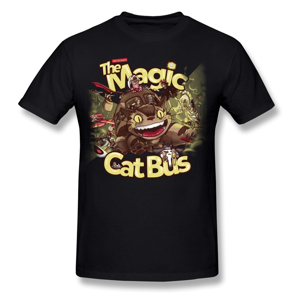 Custom Made Drop Shipping The Magic Cat Bus Men's t-shirt Organic Cotton Cheap Man's tees shirt(China (Mainland))