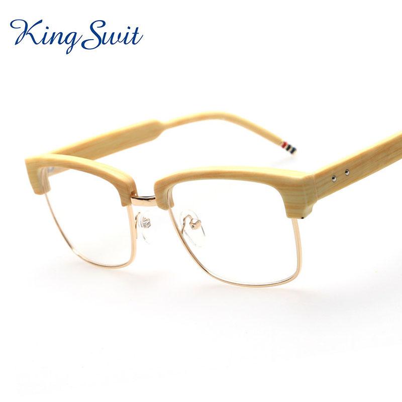 Wood Grain Glasses Frame : KingSwit 2016 Newest Brand Semi Rimless Eyeglasses Women ...