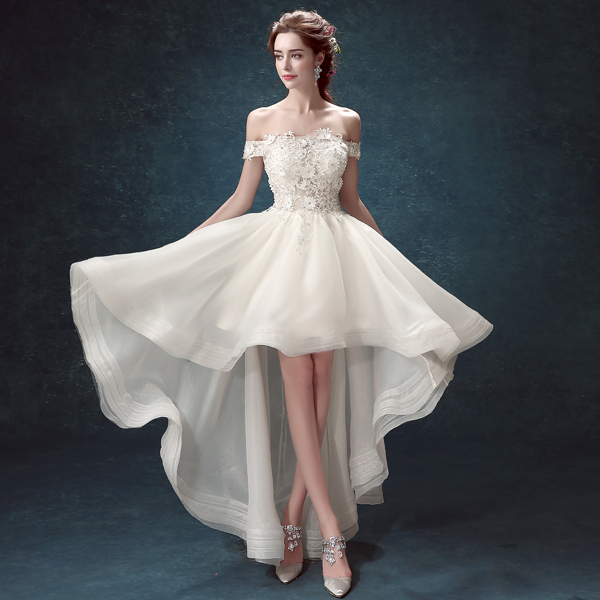 Short front long back wedding dress with short sleeve for Elegant long sleeve wedding dresses