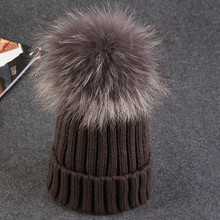 real mink fur colour pom poms winter hat for women girl 's wool hat knitted cotton beanies cap thick female cap(China (Mainland))