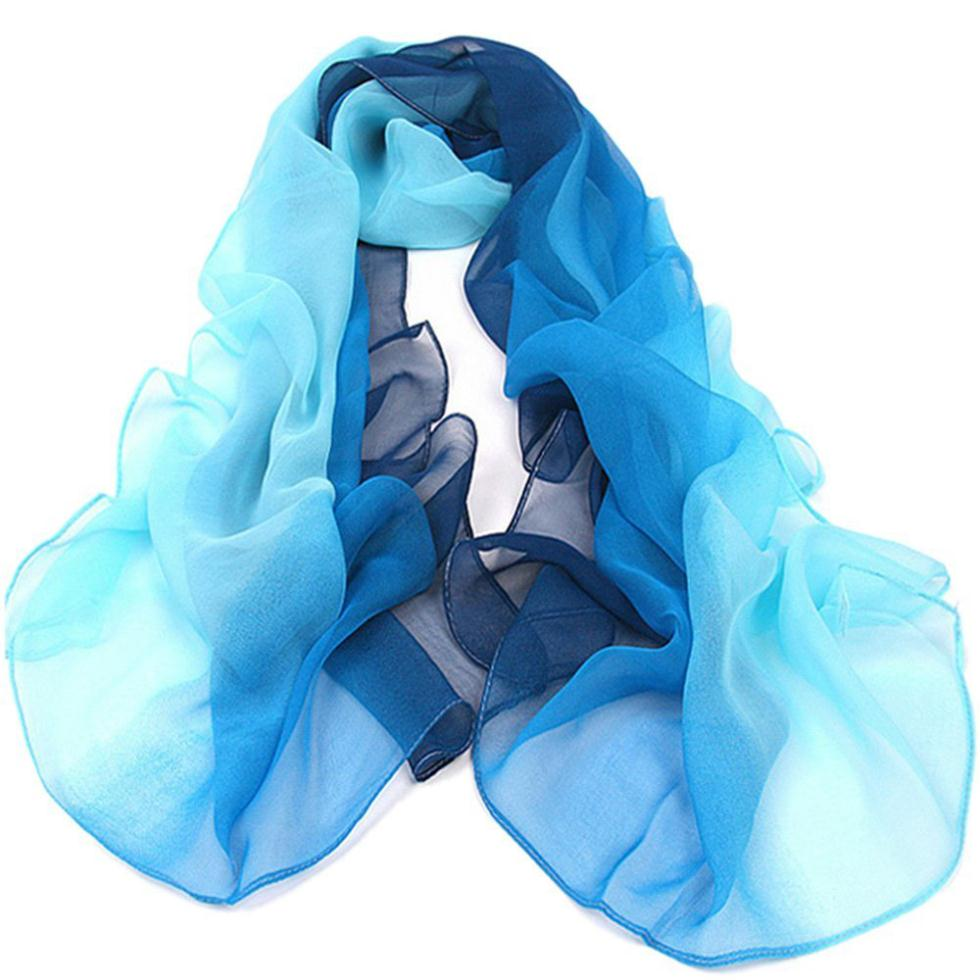 Xmas Gradient Color Wrap Ladies Shawl Silk Chiffon Scarf Scarves(China (Mainland))