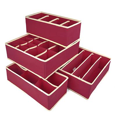 New hot 4 in 1 per set foldable storage box Bamboo Charcoal fibre home organizer Box for bra,underwear,necktie,socks(China (Mainland))