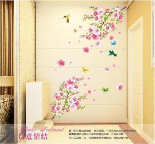 ZY9158 large elegant flower wall stickers Peach Blossom graceful birds wall 3Dstickers romantic decoration furniture living room(China (Mainland))