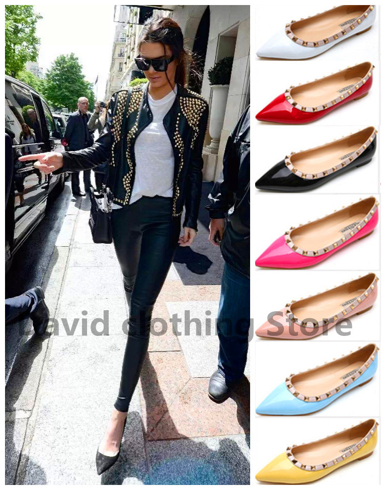 HOT 2015 Women flat Solid Leather rivets pointed Toe Flats Valentine sharp ladies ballets Black nude red rivet shoes 40#UXI15(China (Mainland))