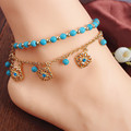 Vintage women bohemian anklet bracelet foot accessories turquoise ankle bracelets feet jewelry gold anklets for women chain two