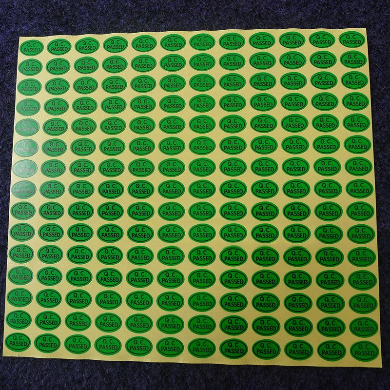 QC Adhesive Label Sticker Custom Label Sticker QC PASSED Stickers 13*9mm 900pcs/lot Green Color Oval Coated Paper Warranty Label(China (Mainland))