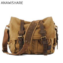 Buy ANAWISHARE Canvas Leather Crossbody Bag Men Military Army Vintage Messenger Bags Large Shoulder Bag Travel Bags AM LEGEND for $38.00 in AliExpress store