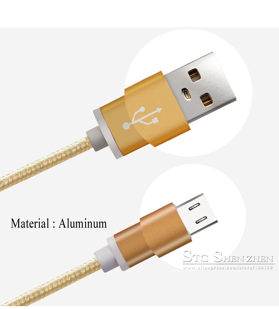 Braided Cellular phone Cables Micro USB Date Cable For Samsung (4)