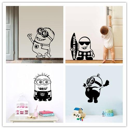 Мультфильм маленький миньоны гадкий я съемный стикер стены DIY дети детская комната декор наклейка украшения дома детские подарки