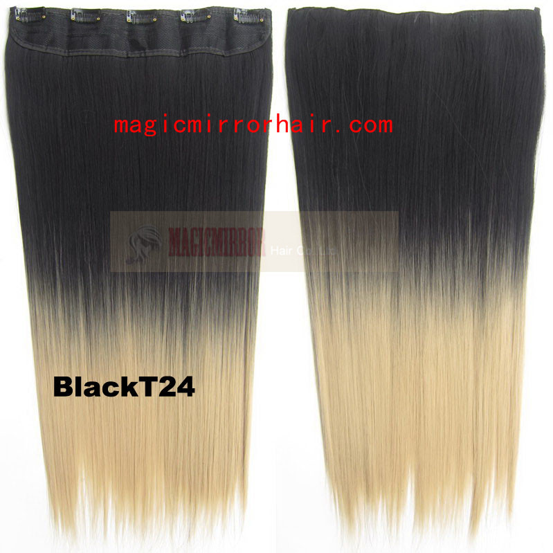 Hi-Q wholesale dip die Ombre 2colors in hair extension black to blond Synthetic hairpieces color washlight straight hair 24''(China (Mainland))