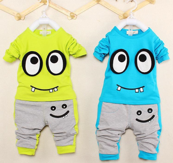 Baby suits girls boys cream Long sleeve hoodies pants 2pcs clothing set childrens Blue and yellow summer clothes whole suits(China (Mainland))