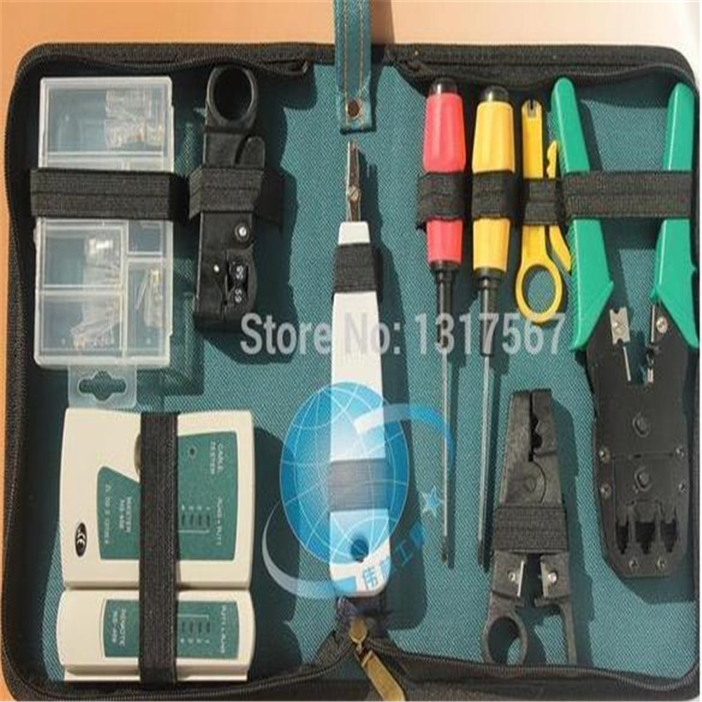 Optical fiber Toolkit Networking Installer Tool 10pcs LAN Network Tool Kit Cable Tester Crimper Stripper Set web tool bag(China (Mainland))