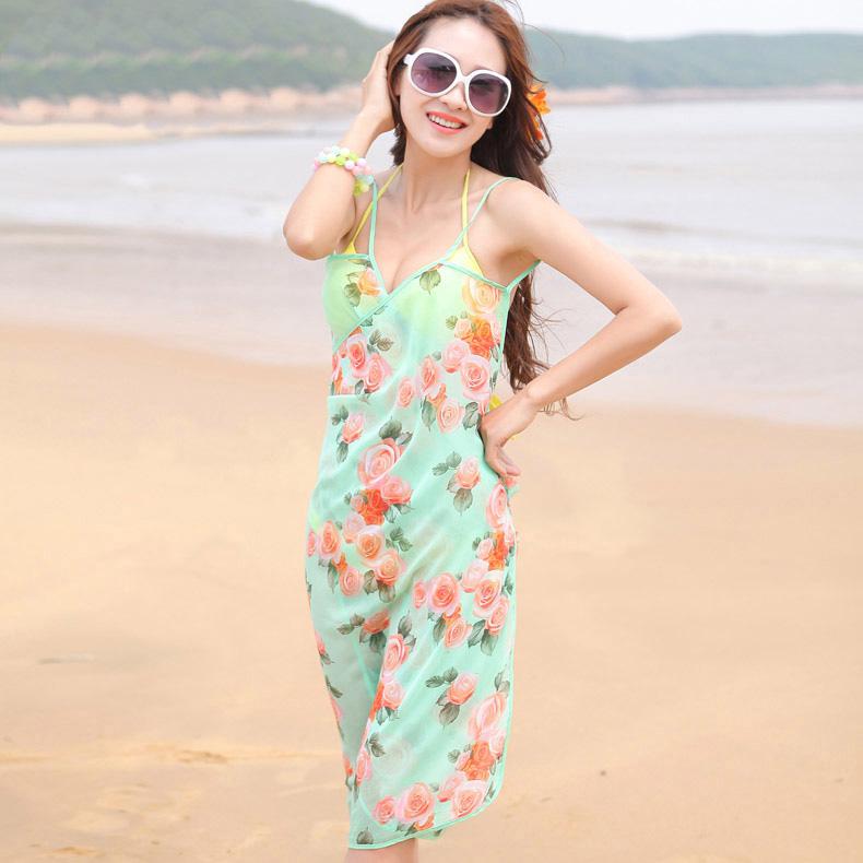 Beach dress chiffon silk scarf female summer design long scarf large cape summer sunscreen beach towel yarn skirt(China (Mainland))