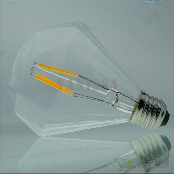 LED e27 e26 b22 Bulb Clear Glass shade Retro Edison lamp G95 4w 6w 8w 110V 220V led Diamond filament lamp Dimmable 1pc/lot(China (Mainland))