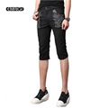 Rivet Punk Man Casual Shorts Fashion Slim Fit Short Trousers Summer Men Black White Shorts Stage
